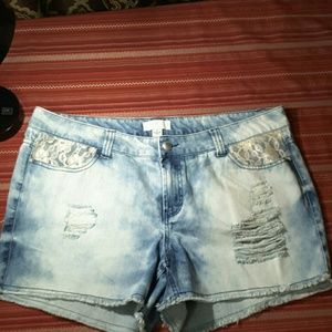 Denim distressed shorts with lace. NWT